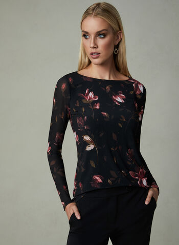 Floral Print Long Sleeve Top, Multi, hi-res