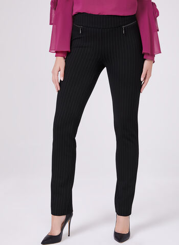 Madison Pinstripe Print Pants, Black, hi-res