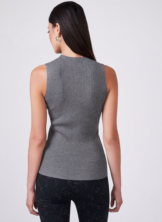 Sleeveless Knit Top, Grey, hi-res