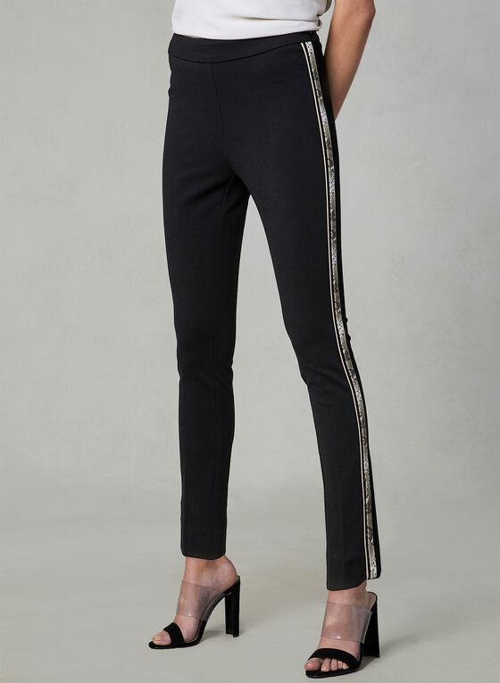 Snake Print Trim Slim Leg Pants, Black