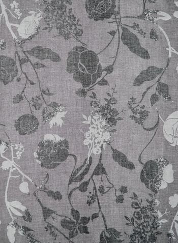 Foulard à imprimé floral bi-ton, Gris, hi-res