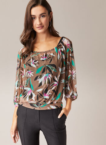 Tropical Print Balloon Sleeve Top, Green,  top, tropical, scoop neck, balloon sleeves, sheer, elastic, spring summer 2020
