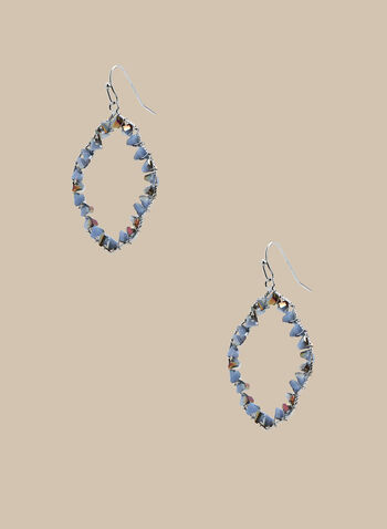 Beaded Loop Dangle Earrings, Blue,  earrings, lozenge, loop, dangle, wire, bead, stones, spring summer 2020