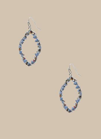 Boucles d'oreilles ajourées à détails métallisés, Bleu,  boucles d'oreilles, losanges, métal, printemps été 2020