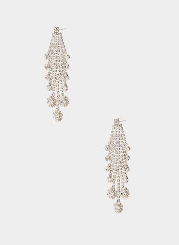 Crystal Chandelier Earrings, Gold,  earrings, chandelier, crystal drops, fall 2019