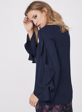 London Times - Ruffle Sleeve Blouse , Blue, hi-res