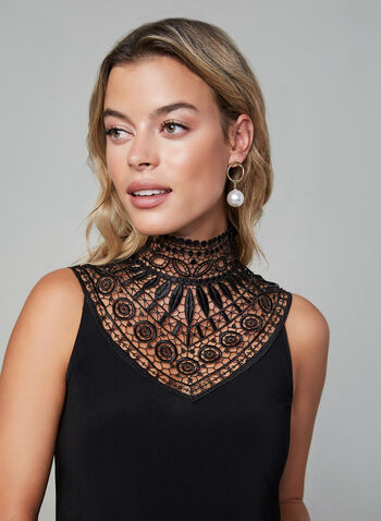 Joseph Ribkoff - Lace Yoke Top, Black,  fall winter 2019, jersey fabric, mock neck, sleeveless