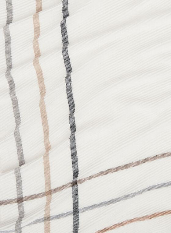 Stripe Print Oblong Scarf, White, hi-res