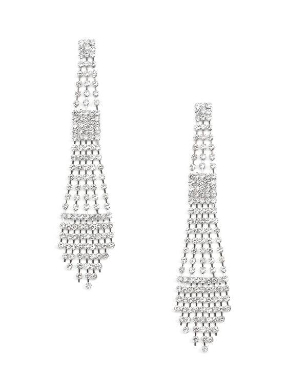 Boucles d'oreilles chandelier de cristaux, Argent, hi-res