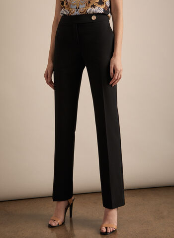 Lauren Fit Pants, Black,  pants, lauren, straight leg, pleats, mid rise, stretchy, spring summer 2020