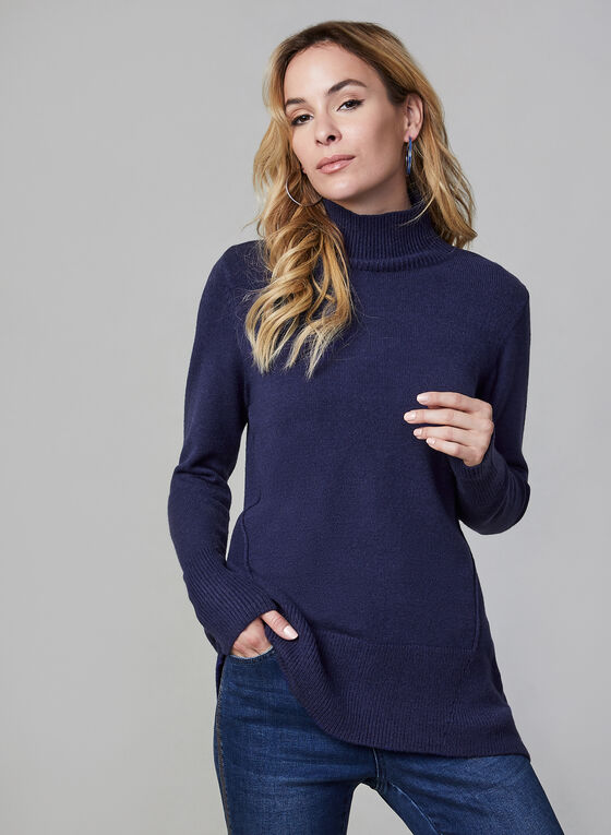 Mock Neck Sweater, Blue