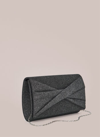 Twist Effect Glitter Clutch, Black,  handbag, evening bag, clutch, purse, accessories, glitter, sparkle, sparkling, flap style, twist effect, knot front, removable chain, textile, spring summer 2021