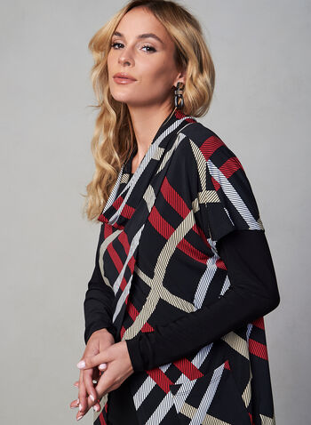 Frank Lyman - Plaid Print Overlay Set, Black, hi-res,  canada, set, two-piece, cowl neck, short sleeves, long sleeves, plaid, jersey, stretch, plaid print, overlay, print, fall 2019, winter 2019