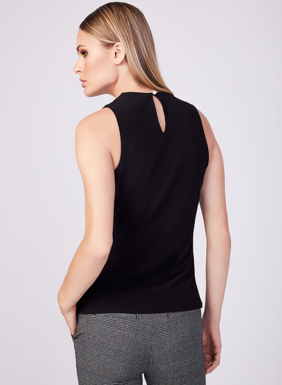 Sleeveless Pearl Detail Pintuck Blouse, Black, hi-res