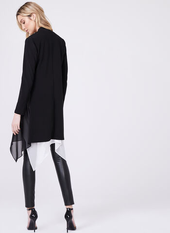 Open Front Combination Cardigan, Black, hi-res