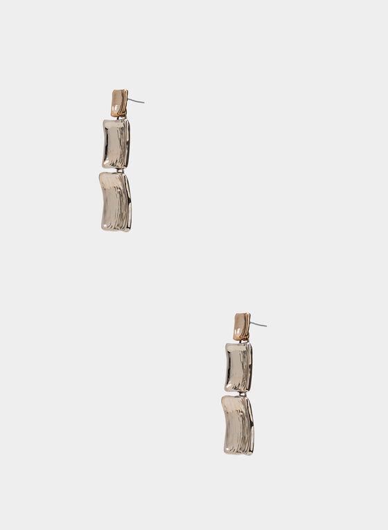 Boucles d'oreilles à pierres rectangulaires, Or, hi-res