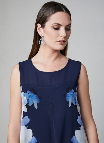Floral Print Capelet Dress, Blue, hi-res