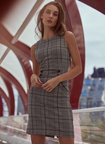 Plaid Sheath Dress, Black,  fall winter 2020, sleeveless dress, pockets, buttons, checks, short dress, fitted dress, plaid, holiday