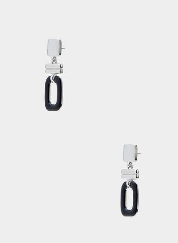 Boucles d'oreilles géométriques, Noir, hi-res,  boucles d'oreilles, géométrique, métal, époxy, automne hiver 2019