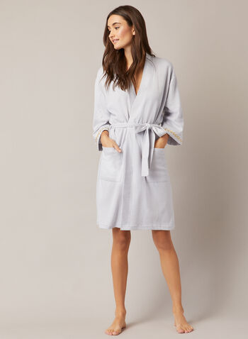 3/4 Sleeve Textured Robe , Grey,  fall winter 2020, robe, sleepwear, belt, knit fabric, embroidery