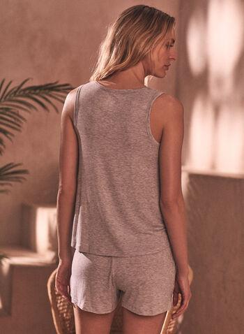 Ensemble pyjama haut et short, Gris,  printemps été 2021, pyjama, ensemble de nuit, vêtements de nuit, deux pièces, haut, top, camisole, short, évasé, fluide, extensible, ajustable, cordon, poches