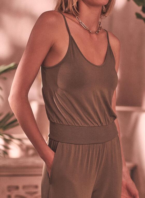 Sleeveless Plunging Neckline Jumpsuit, Green