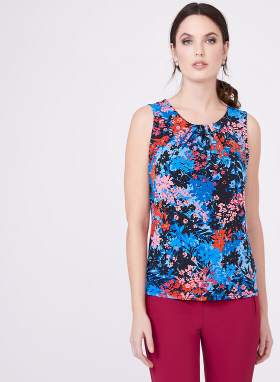Floral Print Sleeveless Top, Blue