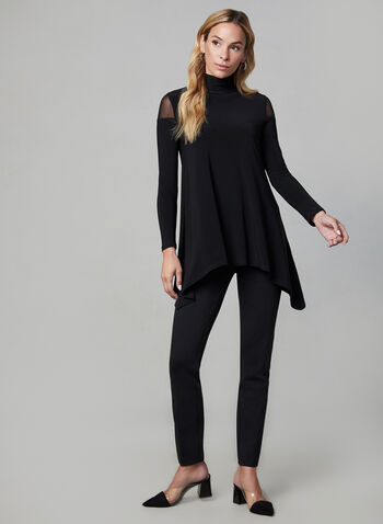 Illusion Cold Shoulder Top, Black,  asymmetric top, blouse, jersey top, sharkbite top