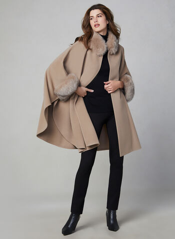 Mallia - Wool & Cashmere Blend Cape, Beige,  fall winter 2020, wool, cashmere, fox fur, outerwear, jacket, poncho