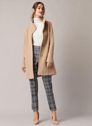 Mallia - Manteau en laine et cachemire, Brun,  manteau, col montant, laine, cachemire, poche, automne hiver 2020