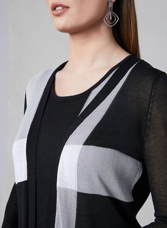 Elena Wang - Cardigan ouvert avec blocs de couleurs, Noir