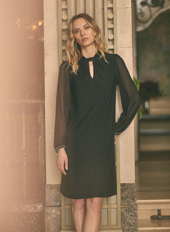 Keyhole Detail Chiffon Dress, Black
