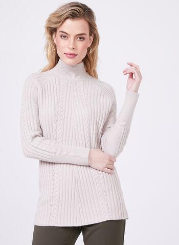 Pull en tricot à col cheminée, Blanc cassé, hi-res
