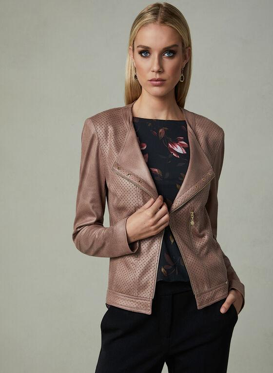 Vex - Faux Suede Open Front Jacket , Pink, hi-res