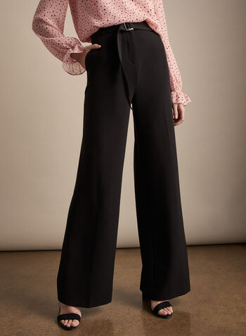 Belted Wide Leg Pants, Black,  pants, wide leg, high rise, pockets, belt, stretchy, zip fly, spring summer 2020