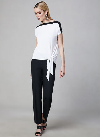Contrast Border Crepe Top, Off White, hi-res,  Canada, crepe, short sleeves, contrast border, spring 2019