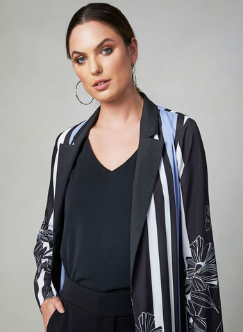 Printed Open Front Duster, Black, hi-res,