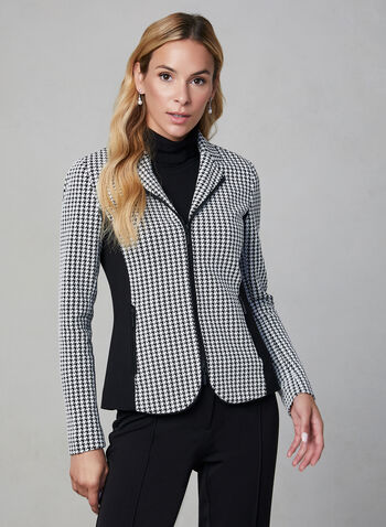 Houndstooth Print Jacket , Black, hi-res,  long sleeves, notch collar, houndstooth, zipper, fall 2019, winter 2019