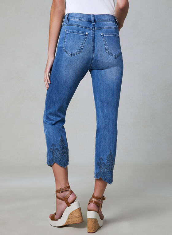 Embroidered Sculpting Jeans, Blue