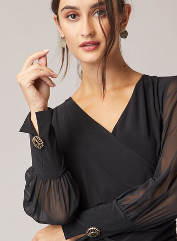 Chiffon Sleeve V-Neck Top, Black,  top, v-neck, chiffon, jersey, puffed sleeves, faux wrap, fall winter 2020