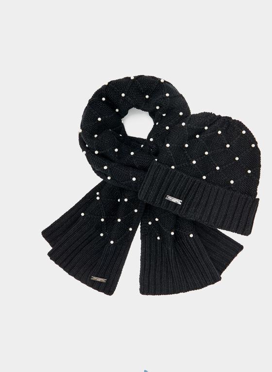 Karl Lagerfeld Paris – Pearl Embellished Knit Scarf, Black