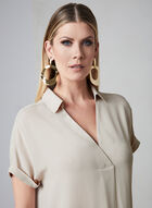 High Low Tunic Blouse, Off White, hi-res