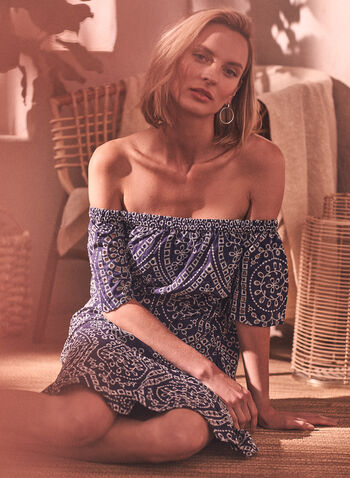 Short Embroidered Dress, Blue,  spring summer 2021, dresses, embroidery, off the shoulder, short sleeves, fit and flare, ruffled, ruffles,