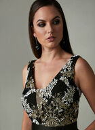 Ignite Evenings – Metallic Floral Embroidery Dress, Black, hi-res
