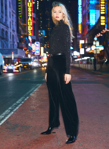 Velour Wide Leg Pants, Black,  fall 2021, made in Canada, pants, bottoms, pull-on, pull on, elastic waist, wide leg, wide, flare leg, flares, flare, velour, velvet, stretch, soft