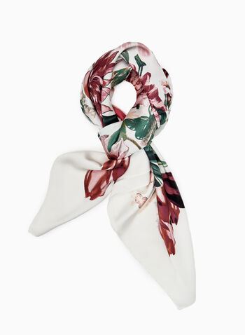 Floral Print Scarf, Off White, hi-res