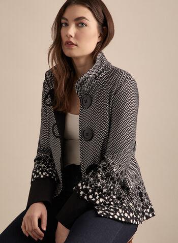 Joseph Ribkoff - Buttoned Mixed Print Jacket, Black,  canada, Joseph Ribkoff, jacket, printed jacket, herringbone jacket, polka dot print, herringbone print, spring jacket, spring 2020, summer 2020