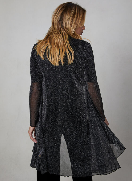 Glitter Open Front Cardigan, Black, hi-res
