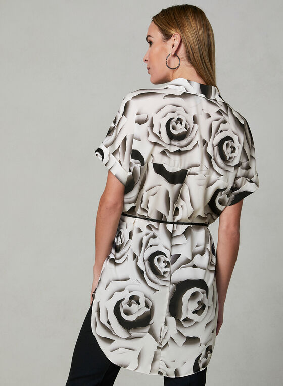 Abstract Print Tunic Blouse, White