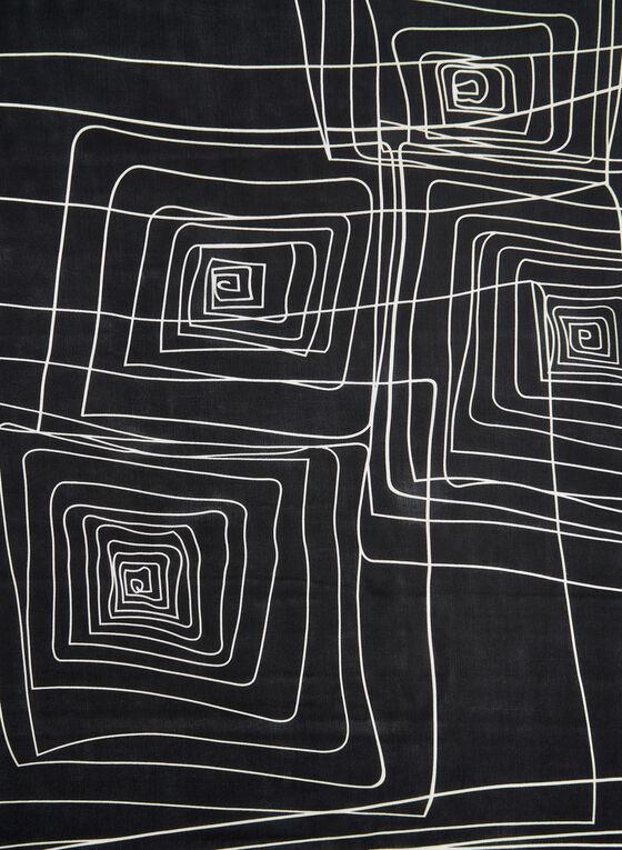 Foulard soyeux à imprimé géométrique, Noir, hi-res